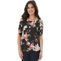 Juniors' IZ Byer Flutter Cold Shoulder Top