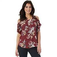 Juniors' IZ Byer California Flutter Cold Shoulder Top