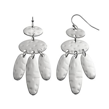 Nickel Free Hammered Oval Drop Earrings