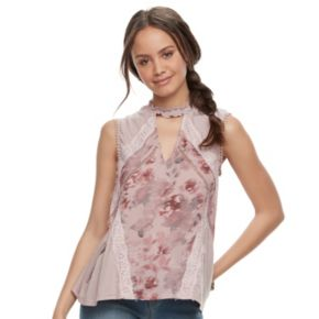 Juniors' Hint of Mint Floral Choker Top