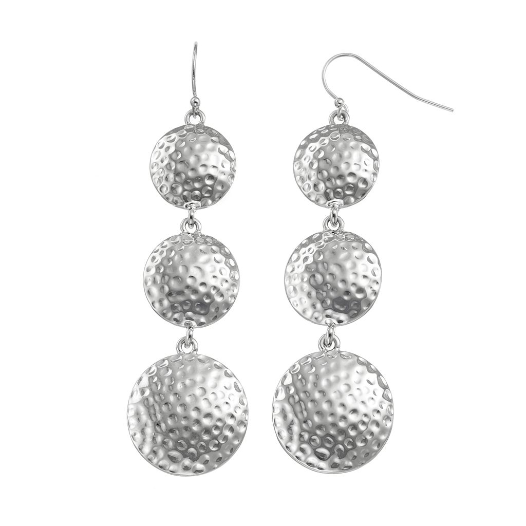 Nickel Free Hammered Graduated Disc Drop Earrings