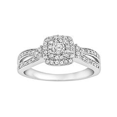 Simply Vera Vera Wang 14k White Gold 3/8 Carat T.W. Diamond Cushion Halo Engagement Ring