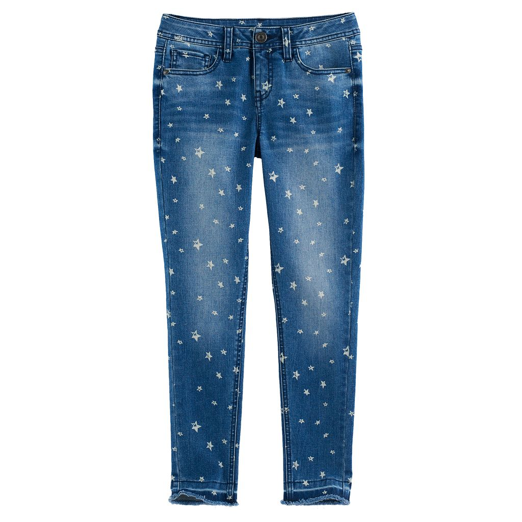 Girls 7-16 SO® High-Rise Star Print Ankle Jeans