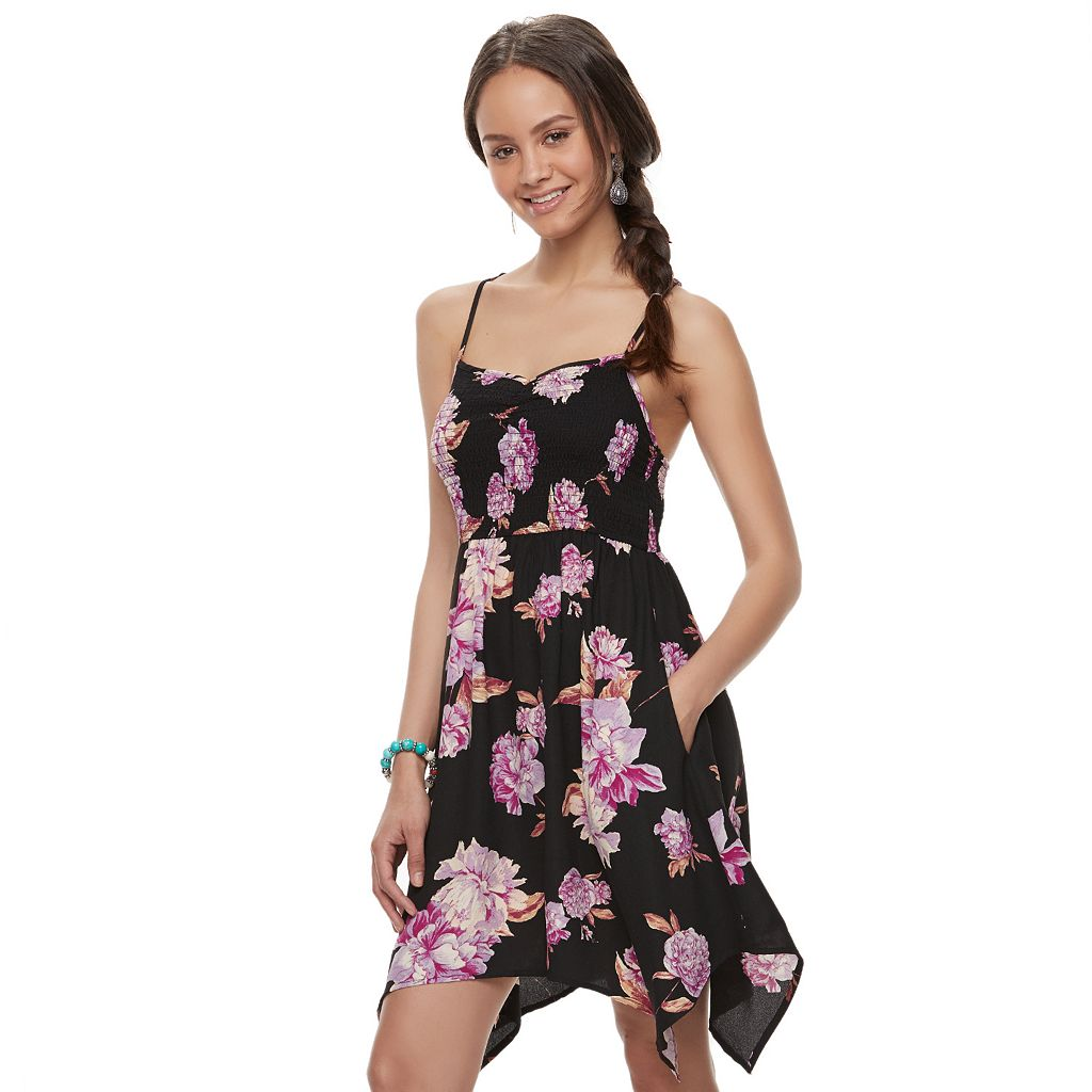 Juniors' About A Girl Smocked Handkerchief Hem Dress