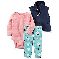 Baby Girl Carter's Polka-Dot Bodysuit, Quilted Vest & Floral Pants Set