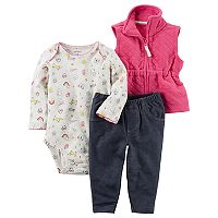 Baby Girl Carter's Print Bodysuit, Quilted Vest & Jeggings Set