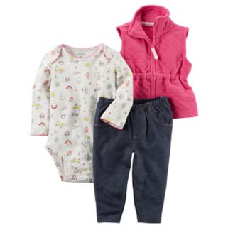 Baby Girl Carter's Print Bodysuit, Quilted Vest & Jeggings Set
