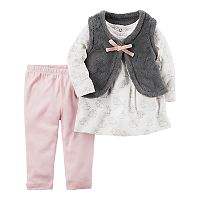 Baby Girl Carter's Bunny Tee, Velboa Vest & Pants Set