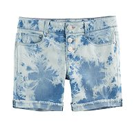 Girls 7-16 SO® Acid Wash Frayed Cuff Midi Jean Shorts