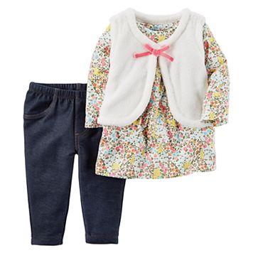 Baby Girl Carter's Floral Tee, Velboa Vest & Jeggings Set