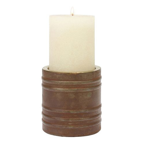 Stonebriar Collection Small Copper Finish Pillar Candle Holder