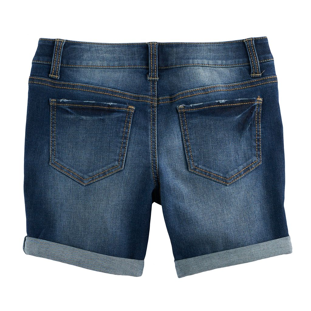 Girls 7-16 SO® Whiskered Dark Wash Midi Jean Shorts