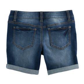 Girls 7-16 SO® Whiskered Dark Wash Midi Jean Shorts