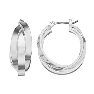 Dana Buchman Intertwined Triple Hoop Earrings