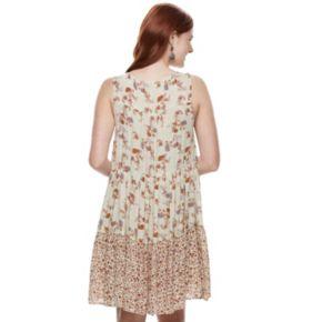 Juniors' Rewind Print Tiered Shift Dress