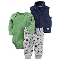 Baby Boy Carter's Solid Bodysuit, Quilted Vest & Paw Pants Set