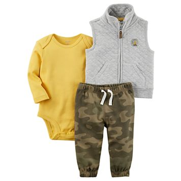 Baby Boy Carter's Solid Bodysuit, Quilted Vest & Camouflage Pants Set