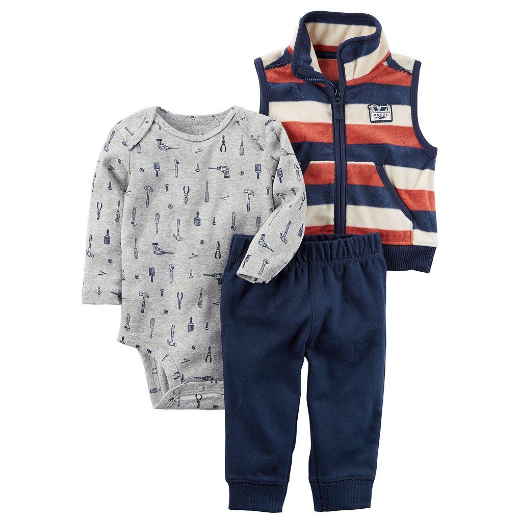 Baby Boy Carter's Tools Bodysuit, Striped Vest & Pants Set