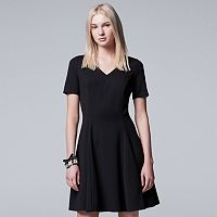Petite Simply Vera Vera Wang Simply Noir V-Neck Fit & Flare Dress