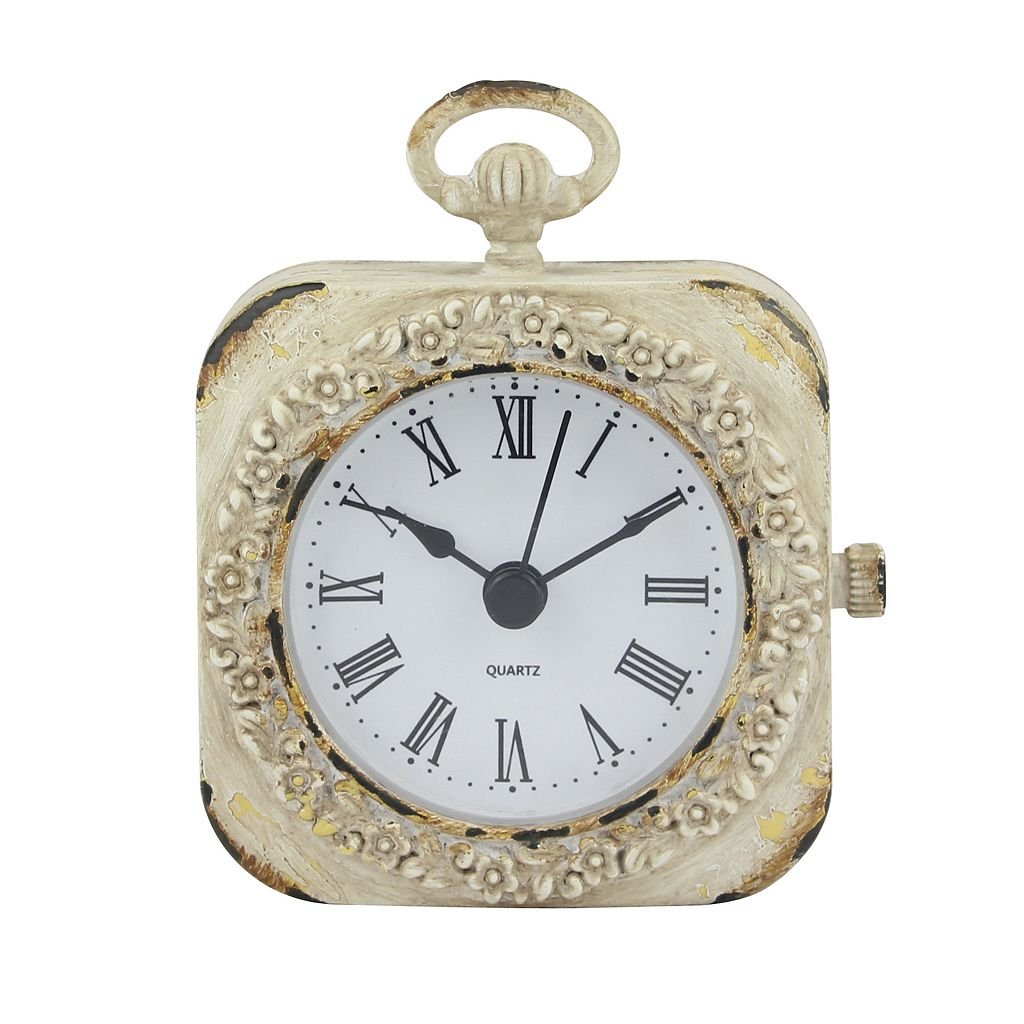 Stonebriar Collection Weathered White Table Clock