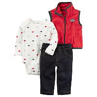 Baby Boy Carter's Football Bodysuit, Fleece Vest & Jeggings Set