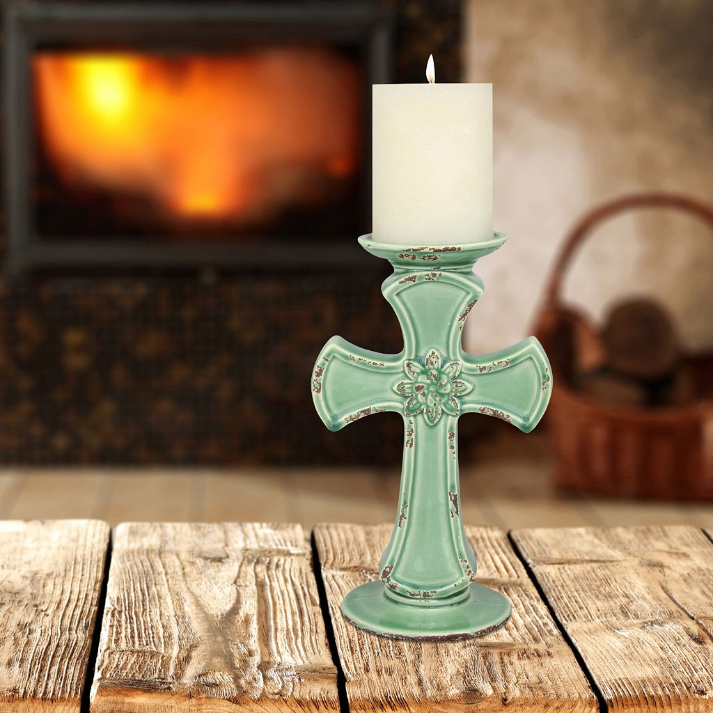 Stonebriar Collection Aqua Ceramic Cross Pillar Candle Holder