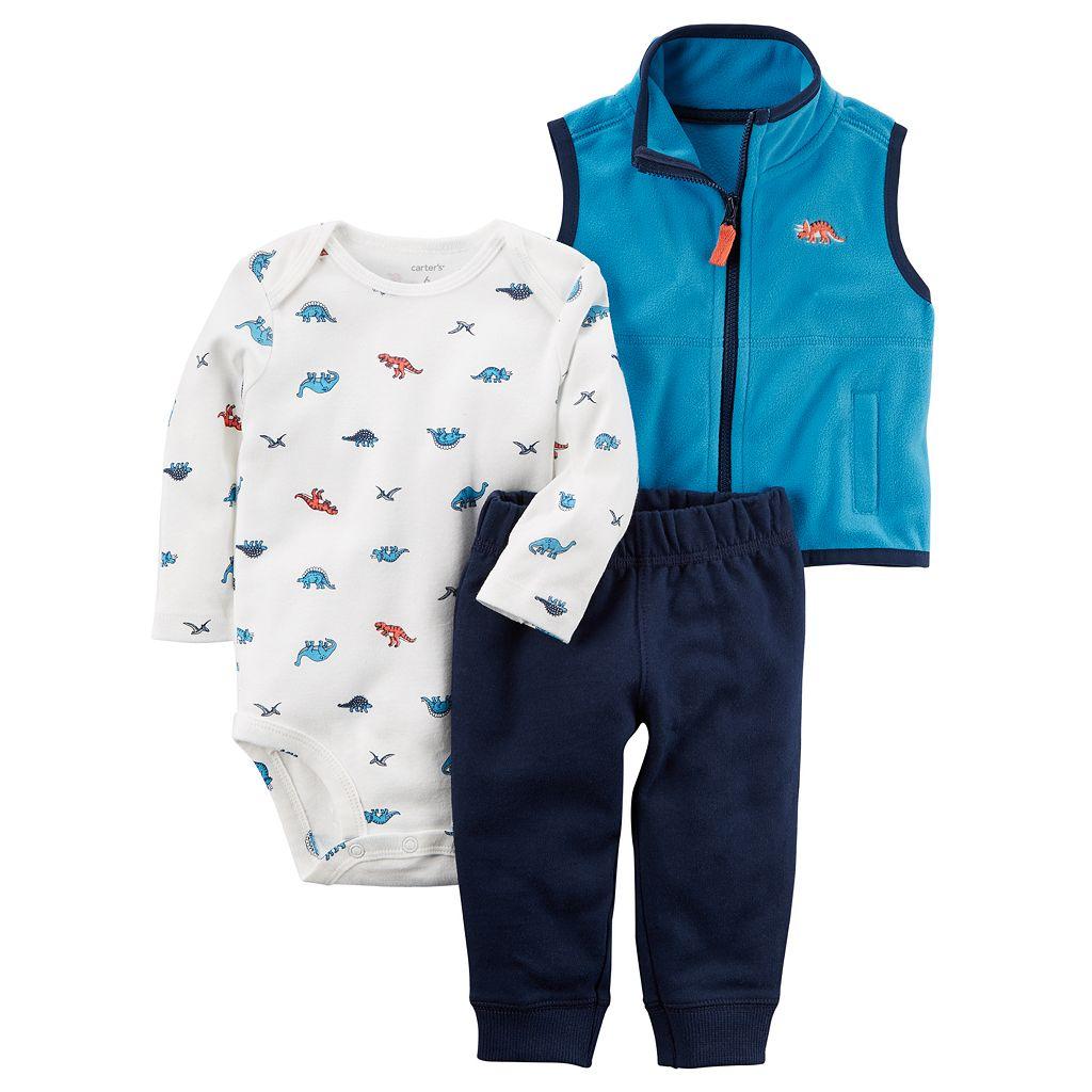 Baby Boy Carter's Dinosaur Bodysuit, Fleece Vest & Pants Set