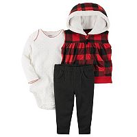Baby Girl Carter's Hooded Buffalo Check Fleece Vest, Polka-Dot Bodysuit & Pants Set