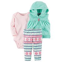Baby Girl Carter's Hooded Fleece Vest, Bodysuit & Fairisle Pants Set