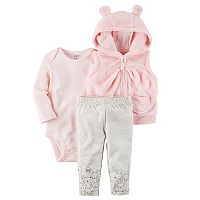Baby Girl Carter's 3D Ears Plush Vest, Striped Bodysuit & Critter Print Pants Set