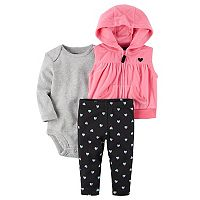 Baby Girl Carter's Hooded Fleece Vest, Bodysuit & Heart-Print Pants Set