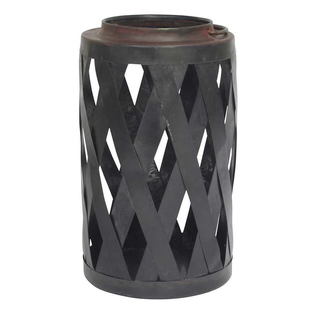 Stonebriar Collection Basketweave Pillar Candle Holder