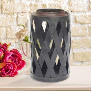 Stonebriar Collection Basketweave Pillar Candle Holder