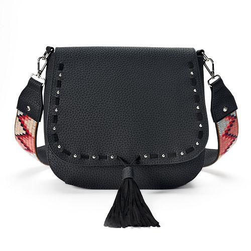 madden NYC Stella Pebbled Crossbody Saddle Bag