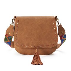 madden NYC Stella Pebbled Crossbody Saddle Bag