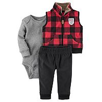Baby Boy Carter's Buffalo Check Fleece Vest, Bodysuit & Pants Set