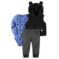 Baby Boy Carter's 3D Ears Plush Black Bear Vest, Bear Print Bodysuit & Striped Pants Set