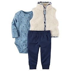 Baby Boy Carter's Plush Vest, Bear & Tree Print Bodysuit & Pants Set