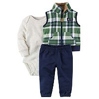 Baby Boy Carter's Plaid Fleece Vest, Bodysuit & Pants Set