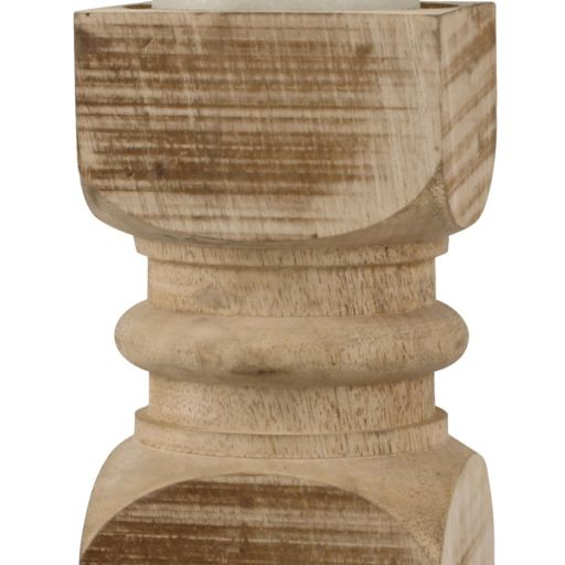 Stonebriar Collection Carved Wood Pillar Candle Holder