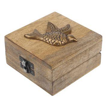 Stonebriar Collection Sparrow Wood Box Table Decor