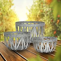 Stonebriar Collection Open Weave Metal Basket 3-piece Set