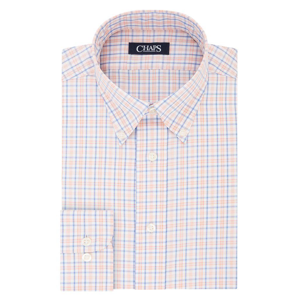 Men's Chaps Slim-Fit Plaid No-Iron Dress Shirt