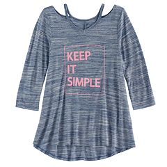 Girls 7-16 & Plus Size SO® 3/4-Sleeve Strappy Swing Top