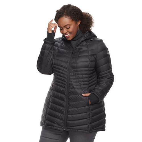 Plus Size Halitech Lightweight Packable Puffer Coat with Hood