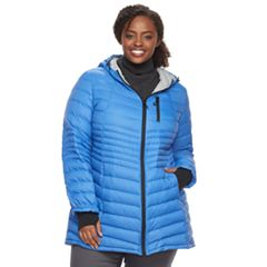 Plus Size Halitech Lightweight Packable Puffer Coat with Hood
