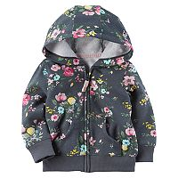 Baby Girl Carter's Floral Hooded Fleece Cardigan