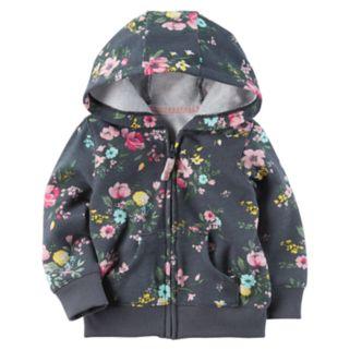 Baby Girl Carter's Floral Hooded Fleece Cardigan
