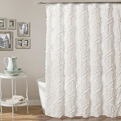 Lush Decor Ruffle Diamond Shower Curtain Ivory White Gray