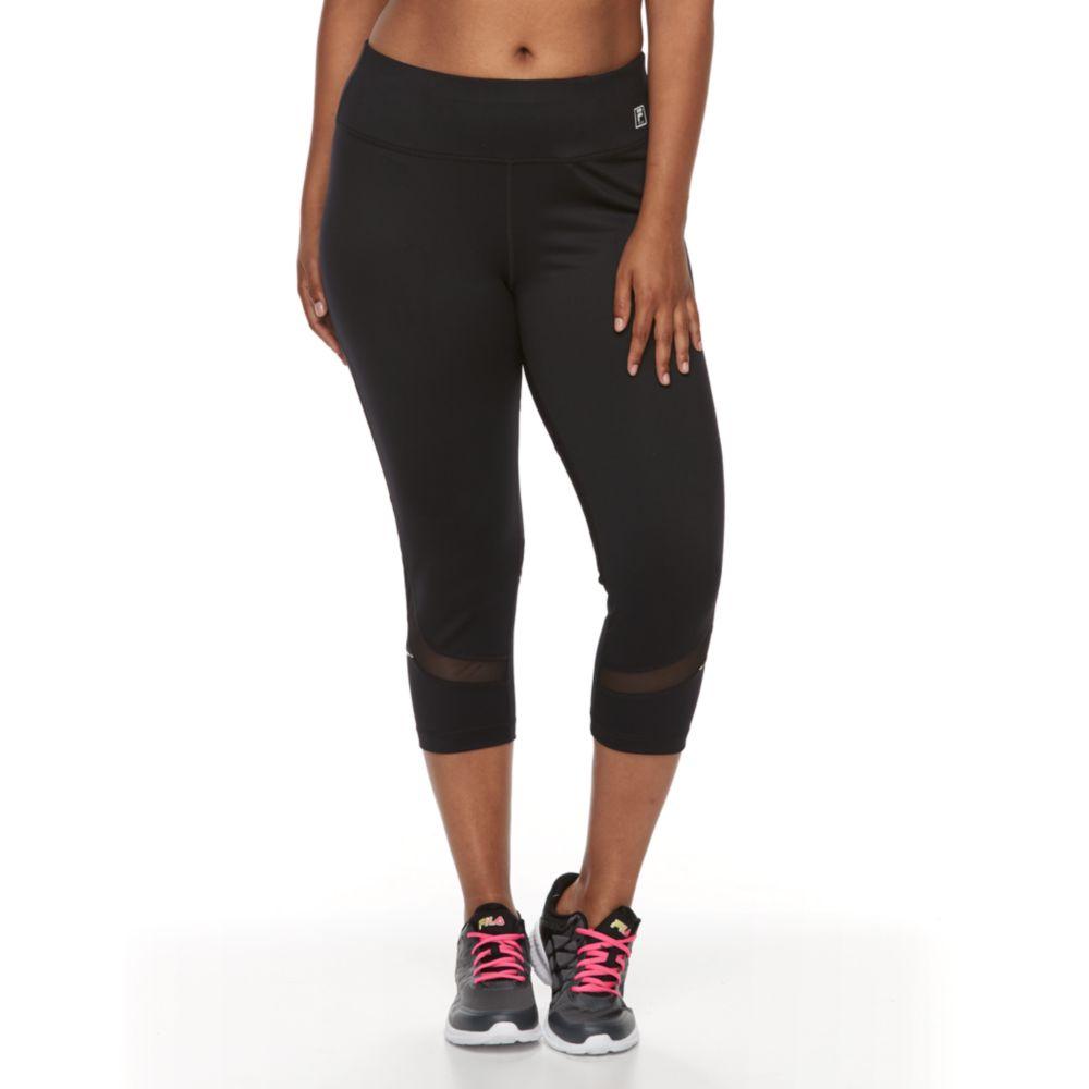 size fila sport® mesh inset capri leggings